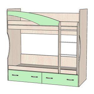 Кровать 2х ярусная зеленая