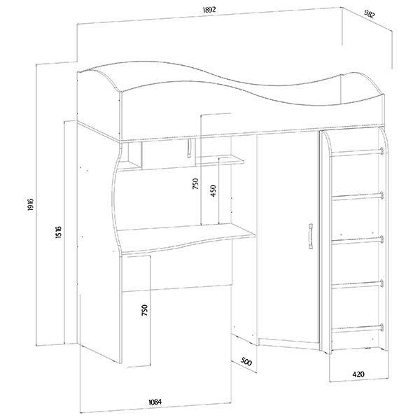 Кровать-чердак размеры 2