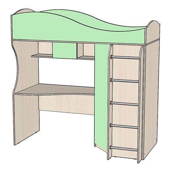 Кровать-чердак зелёная