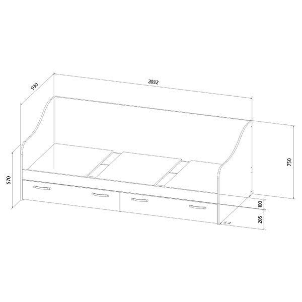 Кровать с ящиками размеры