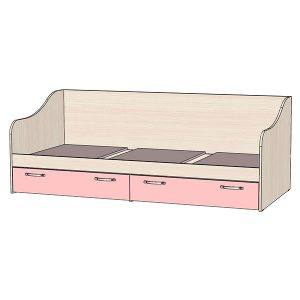 Кровать с ящиками розовая