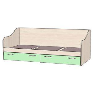 Кровать с ящиками зелёная