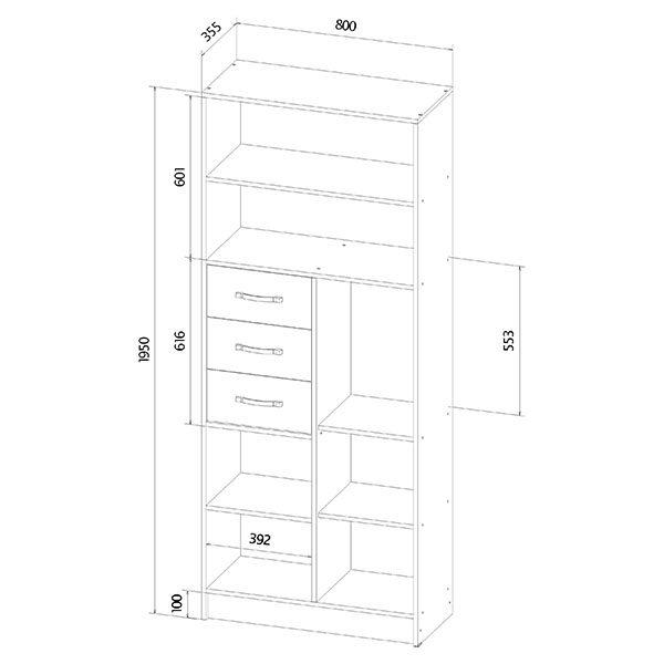 Шкаф-стеллаж размеры