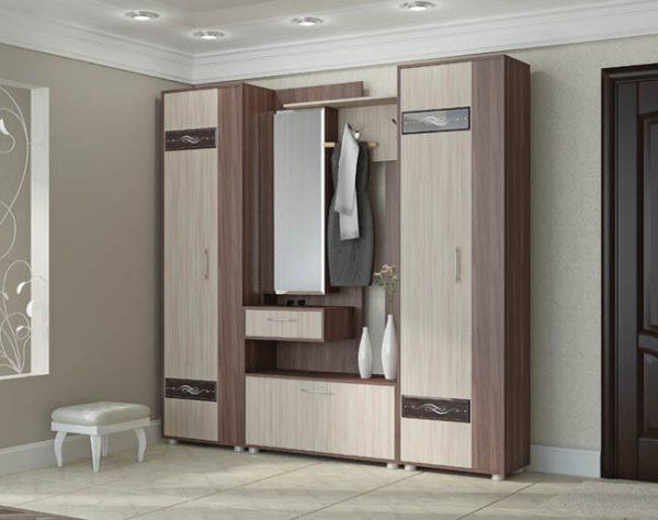 Секция с зеркалом и два шкафа пенала - Инфинити