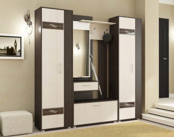 Секция с зеркалом и шкаф пенал 2шт - Инфинити