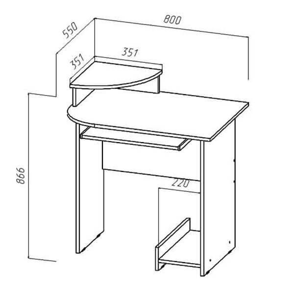 Стол компьютерный Мини размеры